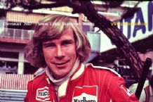 James Hunt portrait. Monaco GP pits 1976